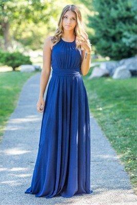 Ocean Blue Halter Chiffon Cheap Bridesmaid Dresses |  Open Back Floor-length Bridesmaid Dresses_2