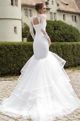 Sexy Organza Lace Appliques Wedding Dress Mermaid Long Sleeve Bridal Gowns_2