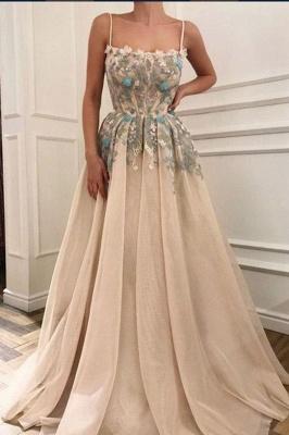 Glamorous Spaghetti Straps  Appliques Long Prom Evening Dress_2