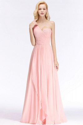 Pink One-Shoulder Modest Sleeveless Ruffled Zipper Floor-length Bridesmaid Dress_4