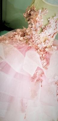Schöne Juwel Kurzarm Tiered Tüll Blumenmädchen Kleider mit handgemachten Blumen   Long Sheer Little Girl Festzugskleid_5