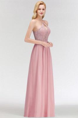 Keyhole Lace Chiffon Floor-Length Halter Long Bridesmaid Dress_4