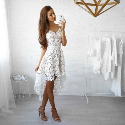 White Lace Straps Hi-Lo Spaghettis V-Neck Homecoming Dresses_3