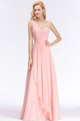 Pink One-Shoulder Modest Sleeveless Ruffled Zipper Floor-length Bridesmaid Dress_2