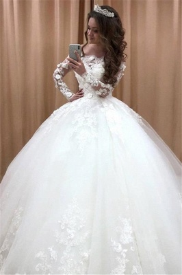 Robes de mariée glamour hors épaule à manches longues | Robe de bal pour la mariée avec fleurs en dentelle 2020_2