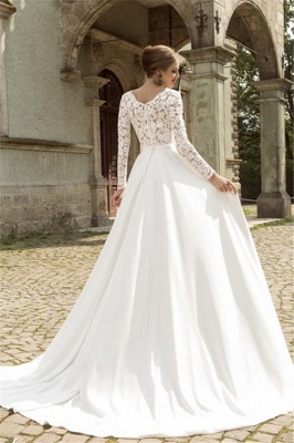 Noble Lace Long Sleeves Bridal Dress Deep V Neck Chiffon Vintage Wedding Dress_2