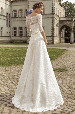 Royal Full Lace Bridal Gowns Half Sleeve A-line Wedding Dress with Crystal Sash VK036_2