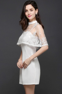 White Two-Piece High-Neck Cute Short Evening Dresses_4