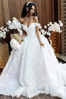 Off The Shoulder Appliques Luxury Wedding Dresses Princess Ball Gown Sexy Bride Dress 2018_2