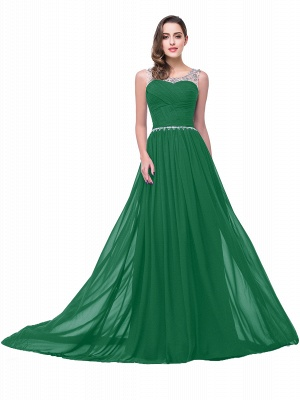 AIMEE | A-line Court Train Chiffon Party Dress With  Beading_6
