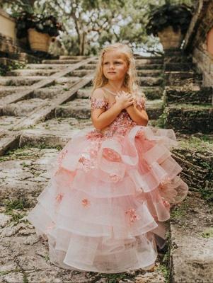 Schöne Juwel Kurzarm Tiered Tüll Blumenmädchen Kleider mit handgemachten Blumen   Long Sheer Little Girl Festzugskleid_4