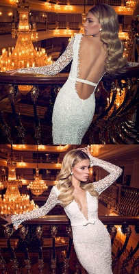Sexy V-Neck Backless Lace Wedding Dresses Long Sleeve Mermaid Bridal Gowns with Bowknot_2