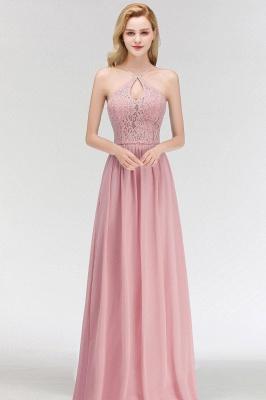 Keyhole Lace Chiffon Floor-Length Halter Long Bridesmaid Dress_5