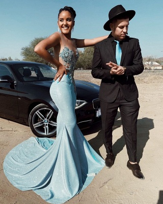 Sparkling Mermaid Mint Prom Dresses Cheap for Juniors   Sleeveless Beads Appliques Sexy Evening Gowns_2