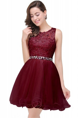 ABBY | A-line Knee-length Tulle Prom Dress with Appliques&Crystal_3
