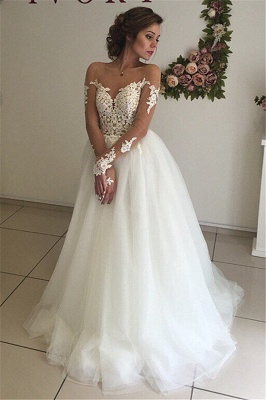 Sexy A-line Long Sleeve Wedding Dresses | Cheap Lace Appliques Tulle Bridal Gowns_2