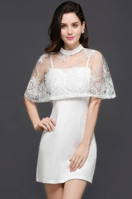 White Two-Piece High-Neck Cute Short Evening Dresses_2