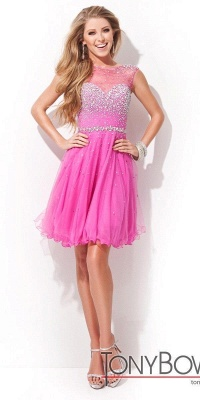 Sleeveless Open-Back Short Crystal Homecoming Dresses_3