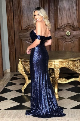 Off The Shoulder Sequins Evening Gowns Long | Sexy Side Slit Cheap Open Back Prom Dresses_4