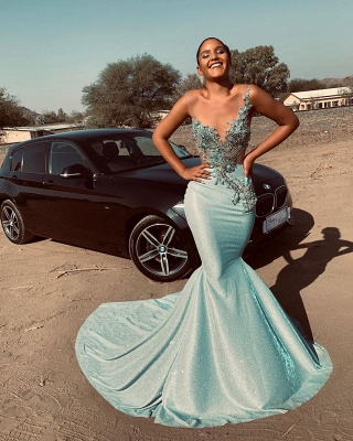 Sparkling Mermaid Mint Prom Dresses Cheap for Juniors   Sleeveless Beads Appliques Sexy Evening Gowns_3