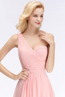 Pink One-Shoulder Modest Sleeveless Ruffled Zipper Floor-length Bridesmaid Dress_6