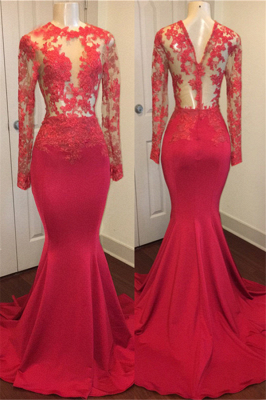 Red Lace Appliques Mermaid Prom Dresses with Sleeves on Mannequins_2