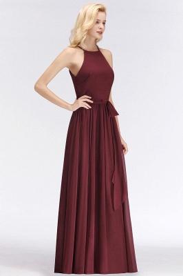 A-Line Chiffon Burgundy Simple Cheap Bridesmaid Dress_3