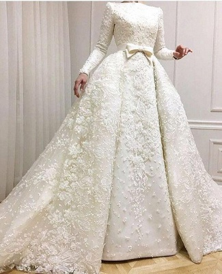 Luxury Beaded Lace-Applique Long-Sleeves Jewel Ball-Gown Wedding Dresses with Over-Skirt CD0071_3