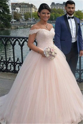 Latest Off Shoulder Ball Gown Princess Dress Tulle Lace Applique Wedding Dress_2