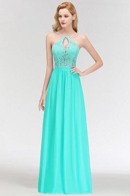 Keyhole Lace Chiffon Floor-Length Halter Long Bridesmaid Dress_6