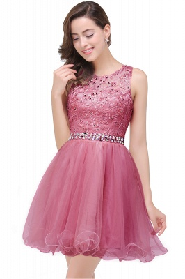 ABBY | A-line Knee-length Tulle Prom Dress with Appliques&Crystal_2