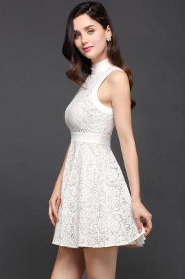 Mini vestidos en existencia lindos de noche de una línea Vestidos de fiesta cortos de cuello alto_4