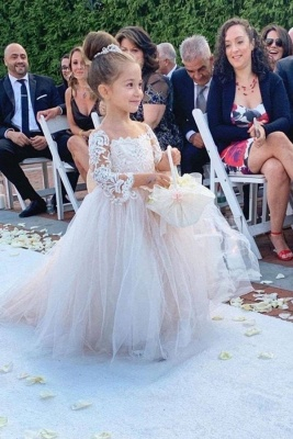 Princess Flower Girls Dress Tulle Long-Sleeve Lace Gown Romantic
