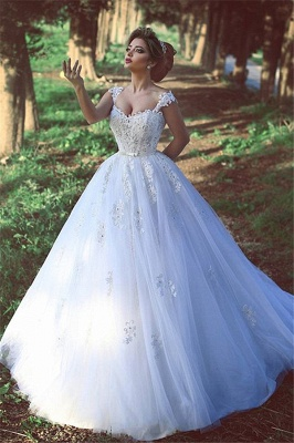 New Arrival Crystal Lace Bridal Gowns Sweep Train Tulle Wedding Dresses BA3840_2