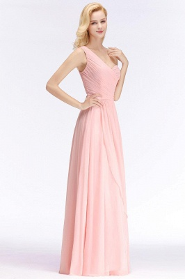 Pink One-Shoulder Modest Sleeveless Ruffled Zipper Floor-length Bridesmaid Dress_3