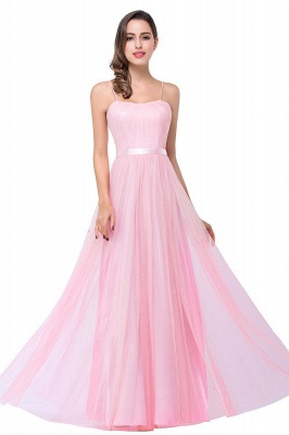 Simple Spaghetti-Straps Ruffles A-Line Pink Open-Back Evening Dress_1