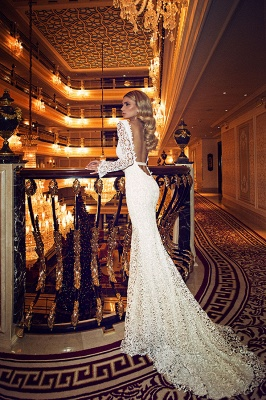 Sexy V-Neck Backless Lace Wedding Dresses Long Sleeve Mermaid Bridal Gowns with Bowknot_3
