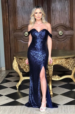 Off The Shoulder Sequins Evening Gowns Long | Sexy Side Slit Cheap Open Back Prom Dresses_3