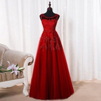 Red A-line Beaded Long Bateau-Neck Lace Party Dresses_10