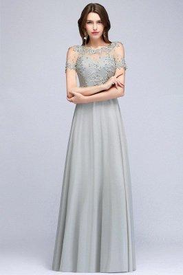 Appliques A-Line Cold-Shoulder Scoop Cheap Beaded Silver Bridesmaid Dresses_5
