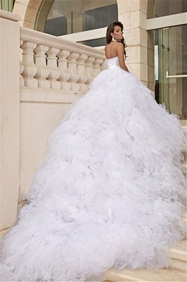 Tulle White Sweetheart Wedding Dresses Chapel Train Sleeveless Bridal Dreses_1