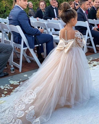 Princess Flower Girls Dress Tulle Long-Sleeve Lace Gown Romantic_4