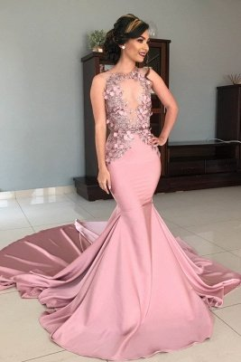 Sheer Tulle Pink Lace Appliques Prom Dresses | Mermaid Sleeveless Sexy Evening Gowns with Court Train