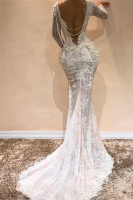 Lace Mermaid Long Sleeve Wedding Dresses | Sexy Open Back Long Evening Dresses with Pearl Chains_3