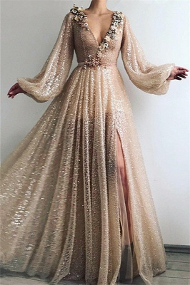 Sparkle Sequins Long Sleeves Prom Dress | Sexy V Neck Front Slit Long Prom Dress_1