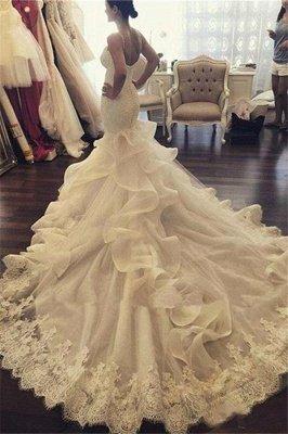 Vestidos de novia atractivos de la correa de espagueti de la sirena Vestidos de novia del aplique del cordón de la nueva llegada_2