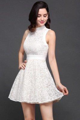 Mini vestidos en existencia lindos de noche de una línea Vestidos de fiesta cortos de cuello alto_5
