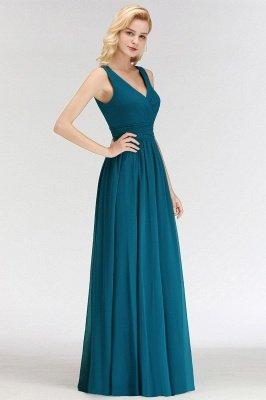 Sleeveless Chiffon Newest A-line Straps Floor-length Bridesmaid Dress_3