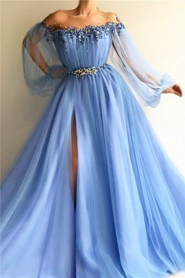 Glamorous Off-The-Shoulder Appliques Tulle  Prom Dress