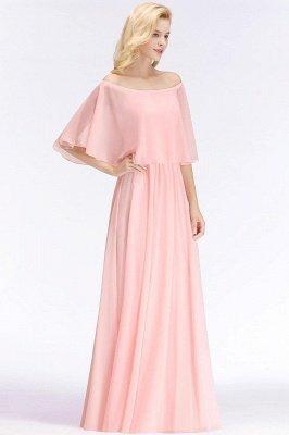 Off-the-Shoulder Pink Chiffon Cheap Bridesmaid Dresses_2
